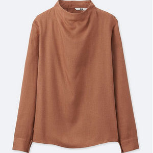 Uniqlo Rayon Long Sleeve High Neck Blouse NWOT